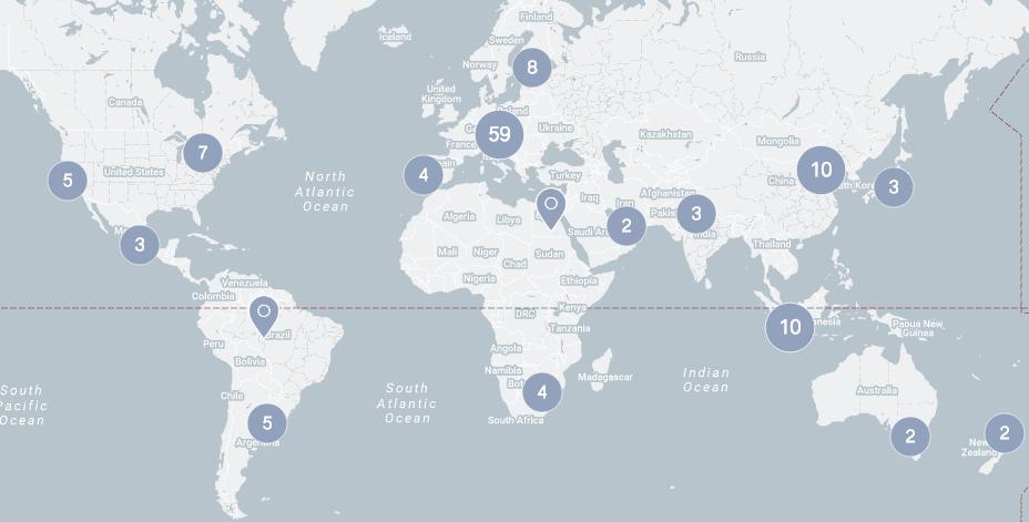 Carte mondiale du réseau BMW Group
