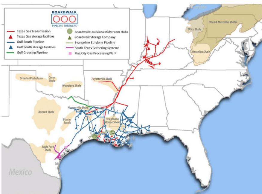 Carte du réseau de BWP aux États-Unis